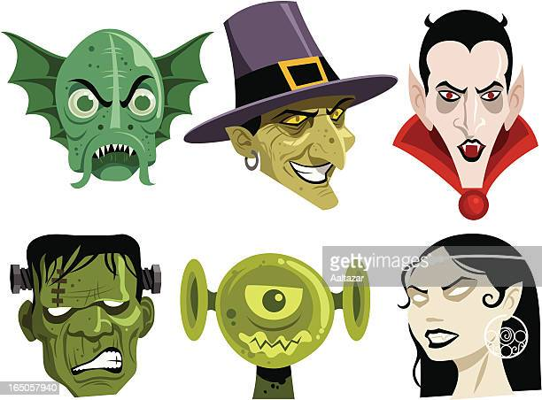 six cartoon monsters commonly seen during halloween - count dracula stock illustrations, clip art, cartoons, & icons