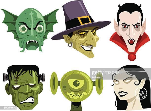 six cartoon monsters commonly seen during halloween - frankenstein stock illustrations