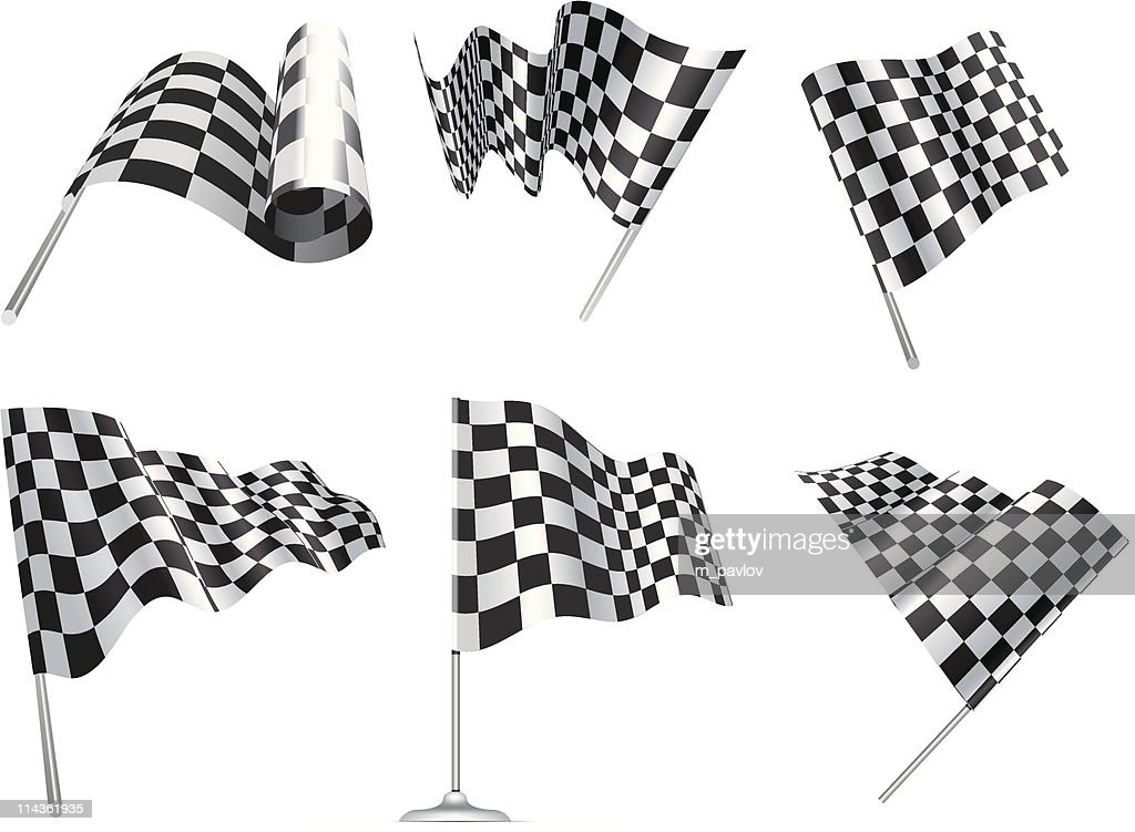 Six checkered flags symbolic of racing cars