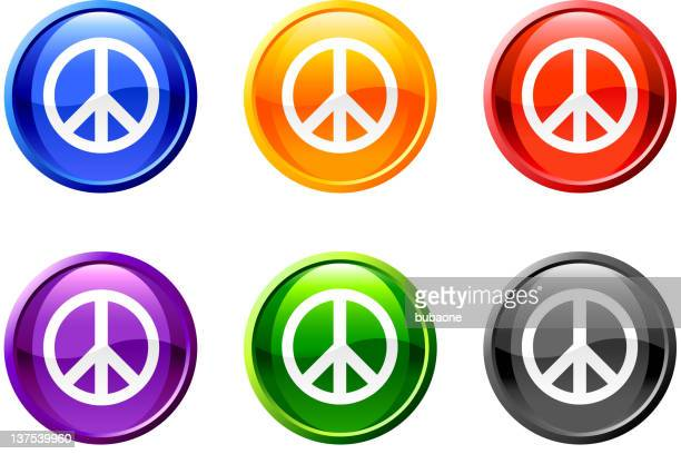 six, circle multicolored icons with white peace symbol.  - black civil rights stock illustrations, clip art, cartoons, & icons