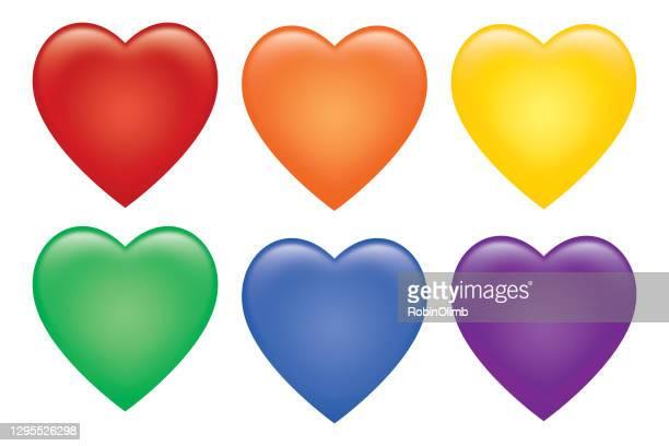 six colorful shiny hearts set - vector stock illustrations