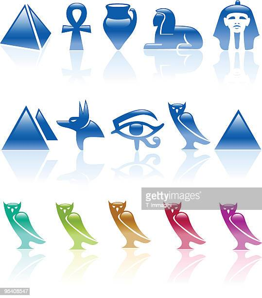 six colour egypt icons - the sphinx stock illustrations, clip art, cartoons, & icons