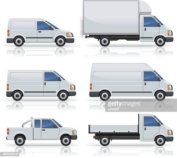 six commercial van icons silhouetted on white - side view stock illustrations
