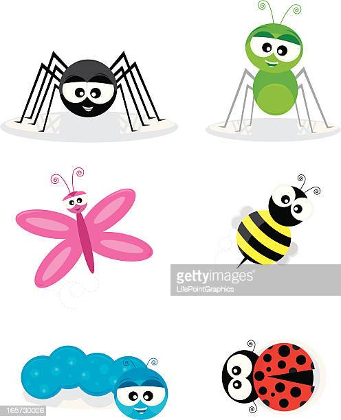 six cute cartoon insects - spider stock illustrations