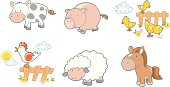 Six Cute Farm Animals