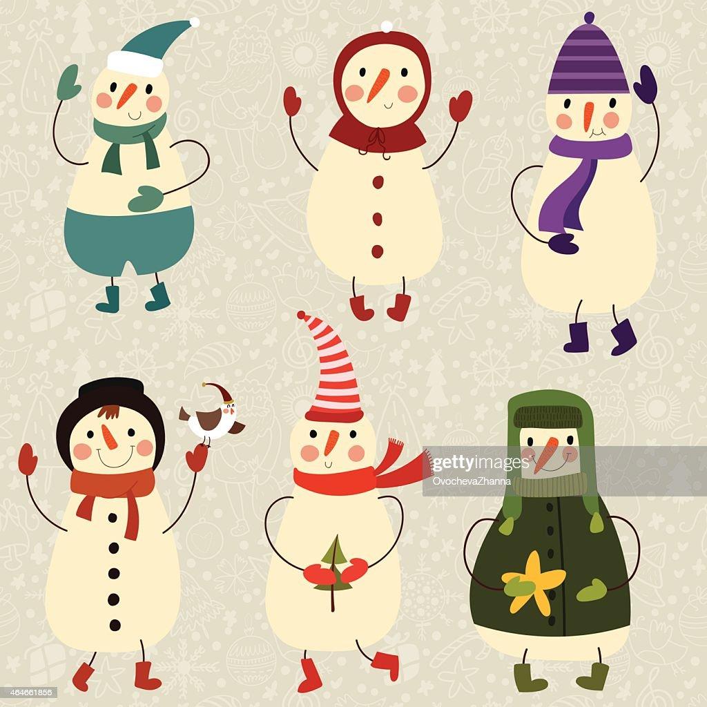 6 つのかわいい面白い snowmans ますカットイラストベクトルセット