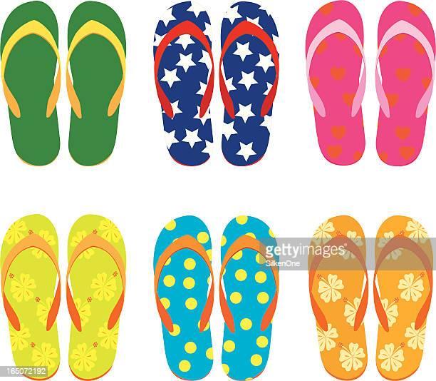 Six different colored flip flops