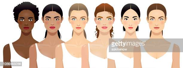 six different women - human face stock illustrations