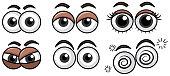 Six Diffrent Eyes Expression on White Background