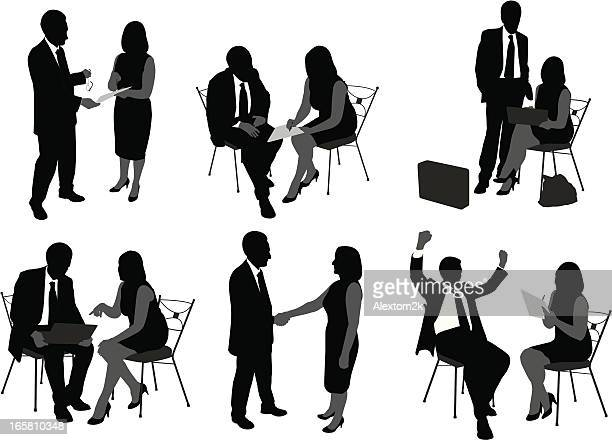 Six drawings of business people having discussions