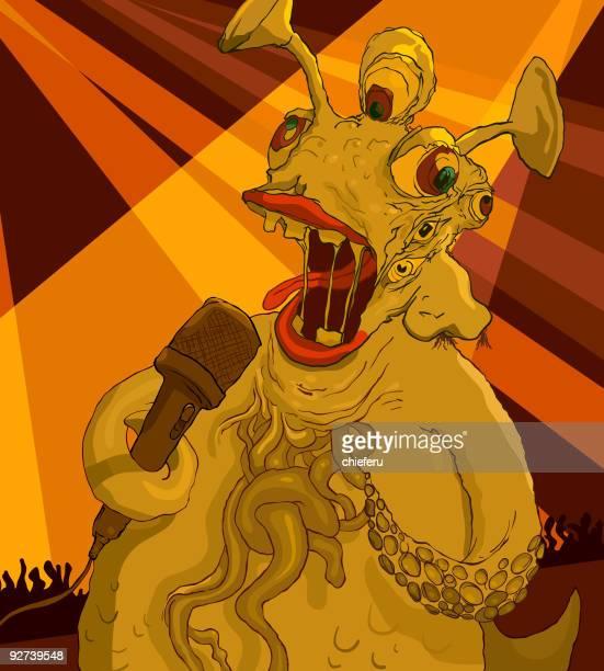 six eyed monster singing - animal saliva stock illustrations, clip art, cartoons, & icons