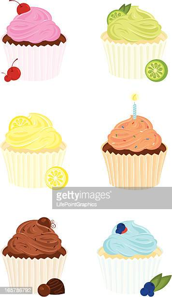 six gourmet cupcakes - whipped cream stock illustrations, clip art, cartoons, & icons