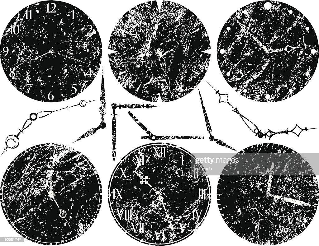 Six Grungy Clock Faces and Hands