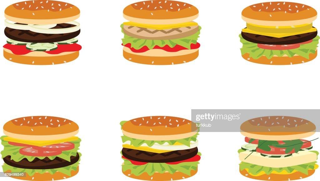 six hamburgers set.