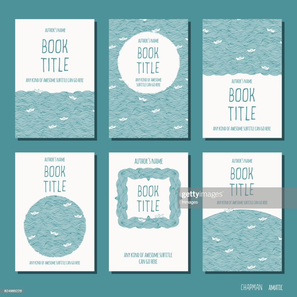 Six hand drawn book cover templates