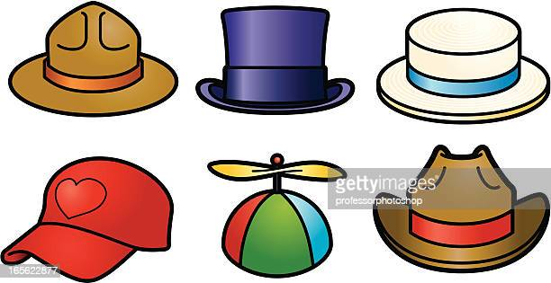 six hats - straw boater hat stock illustrations