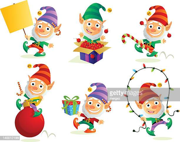 Six illustrations of a happy Christmas elf
