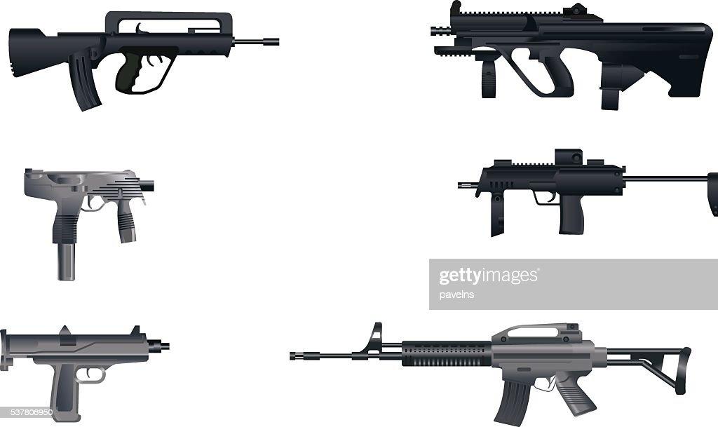 Six machine guns