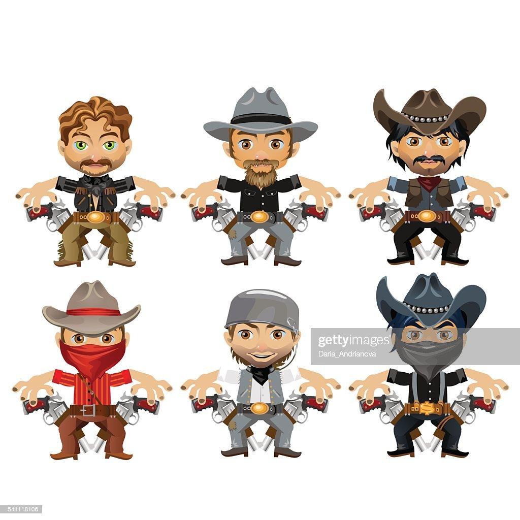 Six men characters in cartoon wild West style