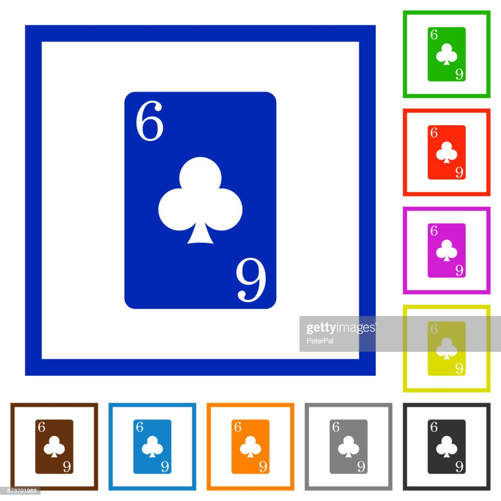 Six of clubs card flat framed icons