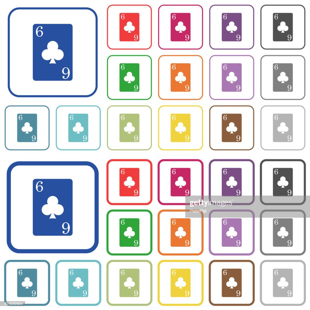 Six of clubs card outlined flat color icons