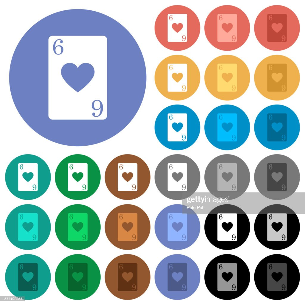 Six of hearts card round flat multi colored icons