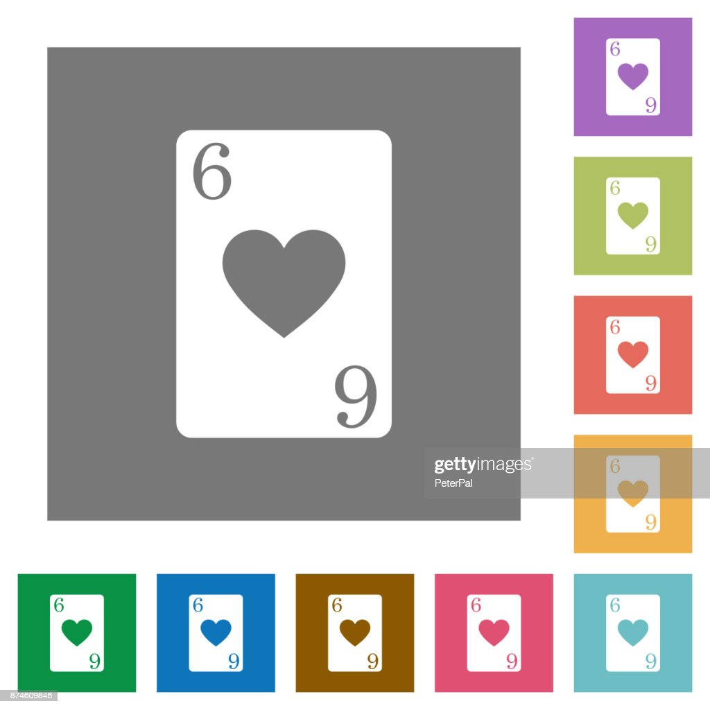 Six of hearts card square flat icons
