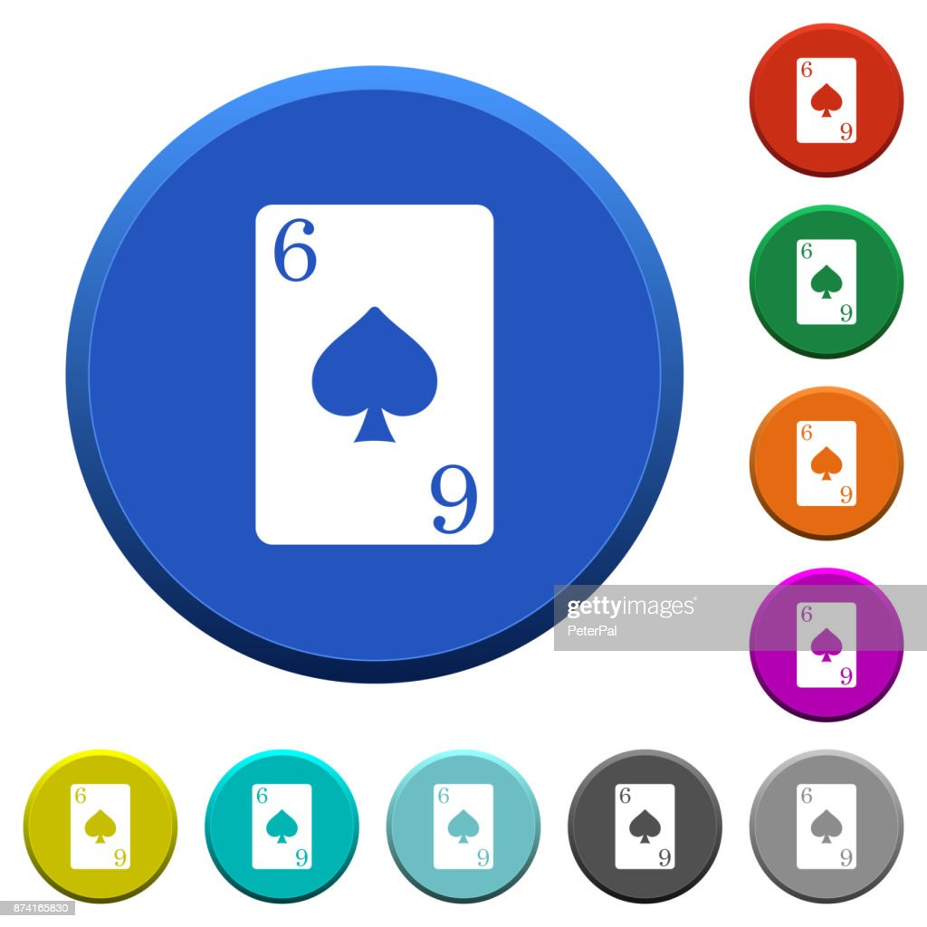 Six of spades card beveled buttons