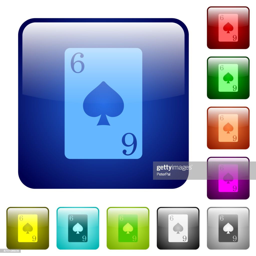 Six of spades card color square buttons