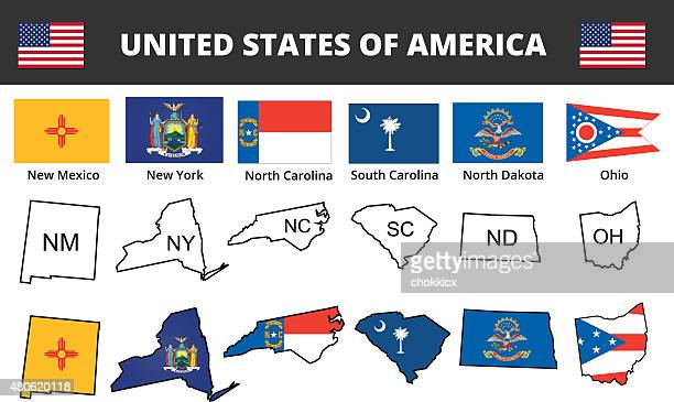 six of usa state flags and maps - north carolina us state stock illustrations