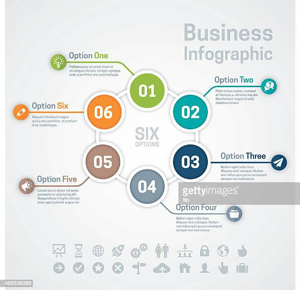 Sechs Option Business Infographic Tabelle