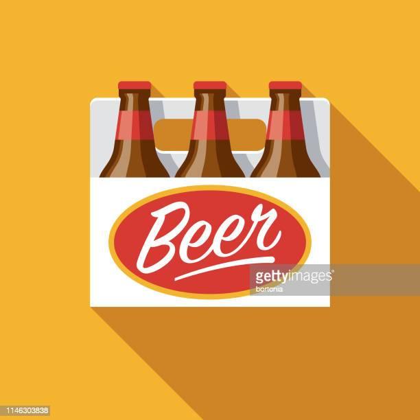 ilustrações, clipart, desenhos animados e ícones de ícone liso do projeto da cerveja de seis blocos - embalagem cartonada