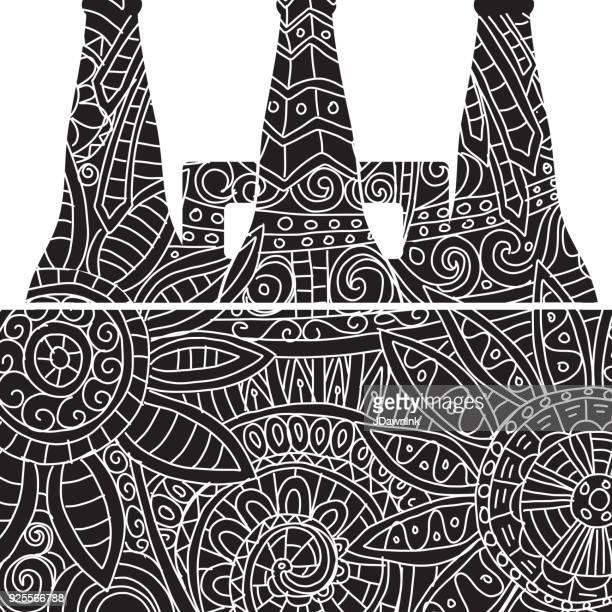 ビールのシックス パック トートバッグもつれパターン - 6缶パック点のイラスト素材/クリップアート素材/マンガ素材/アイコン素材