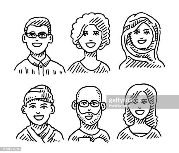 ilustraciones, imágenes clip art, dibujos animados e iconos de stock de seis personas diversidad retratos dibujo - de ascendencia europea