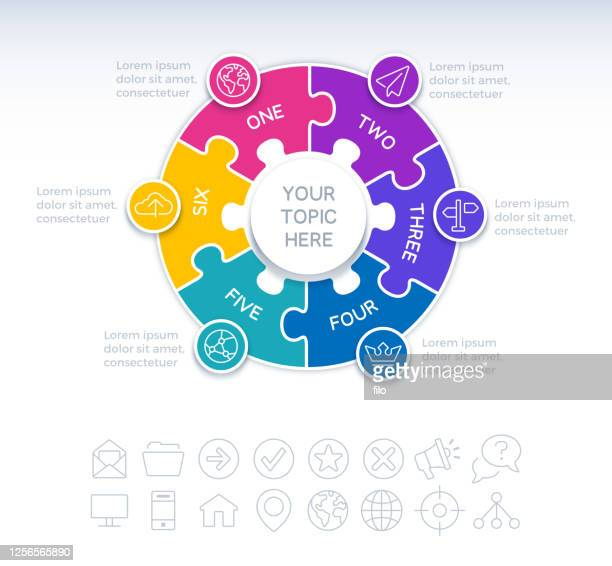 six piece circle puzzle infographic element - merging stock illustrations