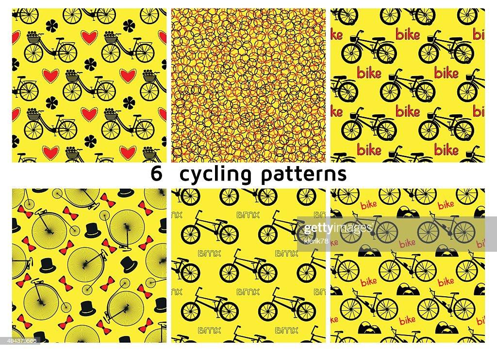 Six seamless bicycle pattern.
