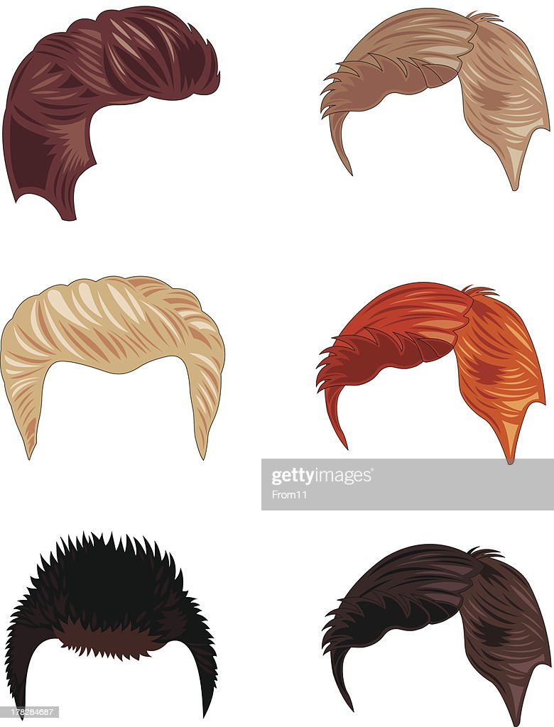 Six short men's hairstyles in different colors