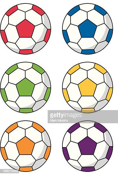 Six Simple Soccer Footballs in Various Colours