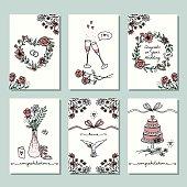 Six small hand drawn wedding cards