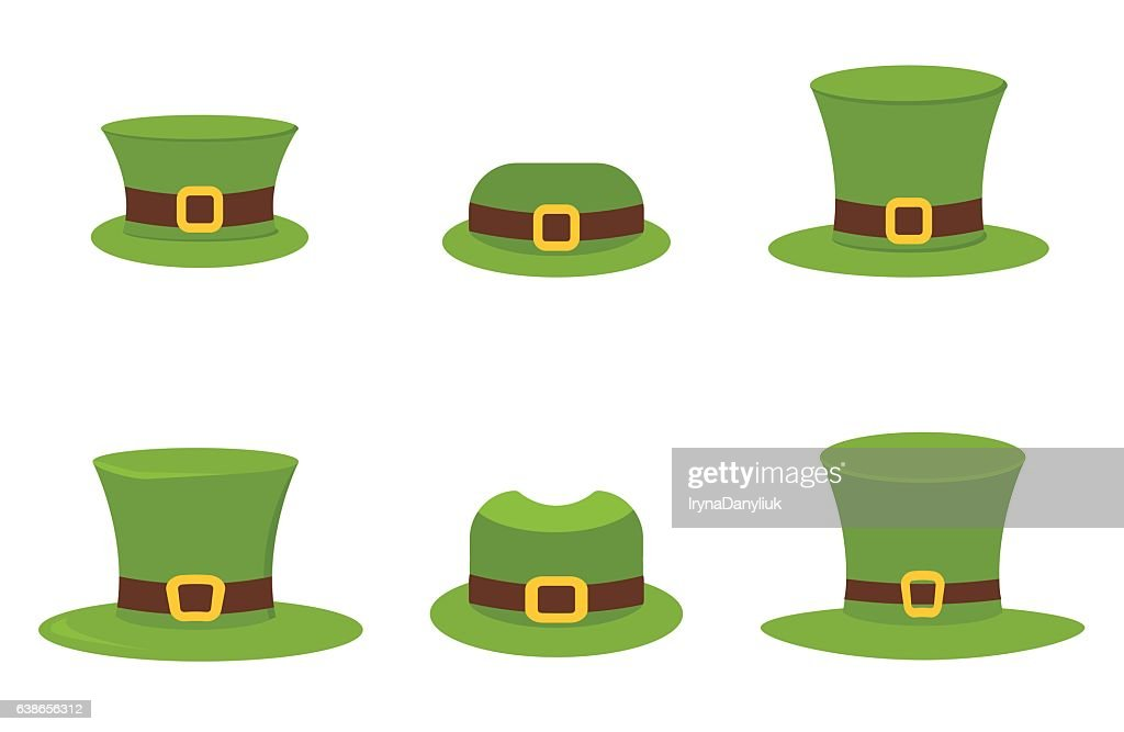 Six St. Patrick's Day hats isolated on white vector.