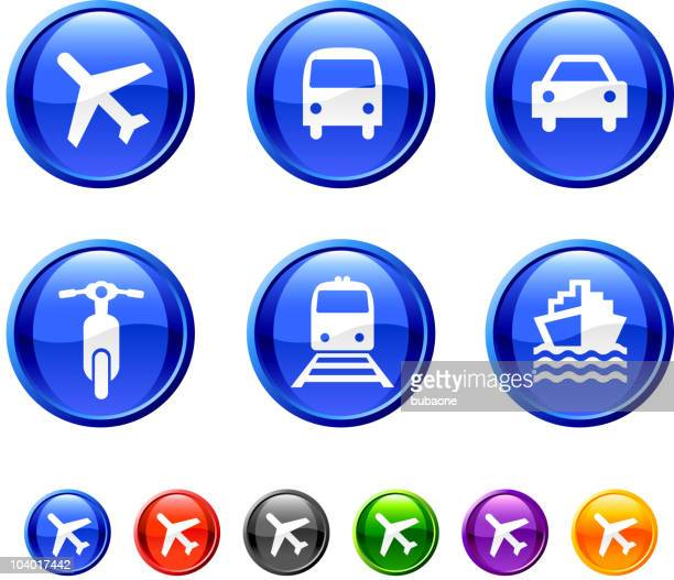 six transportation icons against a white background - yellow taxi stock illustrations, clip art, cartoons, & icons
