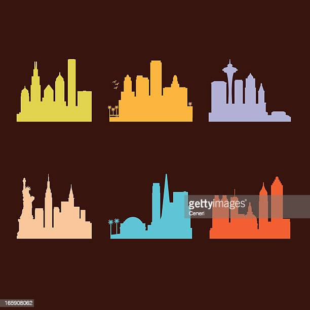 six united states cities skyline - atlanta stock illustrations, clip art, cartoons, & icons
