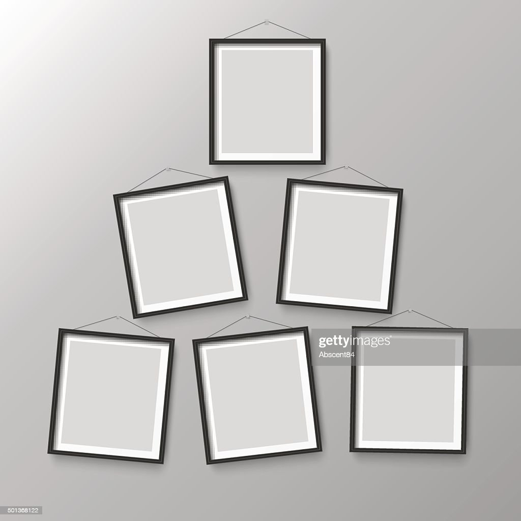Six Wooden Black Photo Picture Frames Vector Art   Getty Images