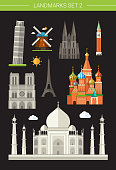 Six world famous buildings depicted on a black background