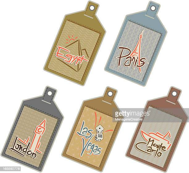 six worldwide luggage tags - luggage tag stock illustrations, clip art, cartoons, & icons