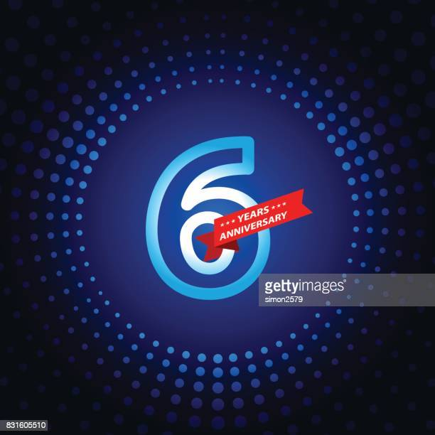 six years anniversary icon with blue color background - 6 7 years stock illustrations
