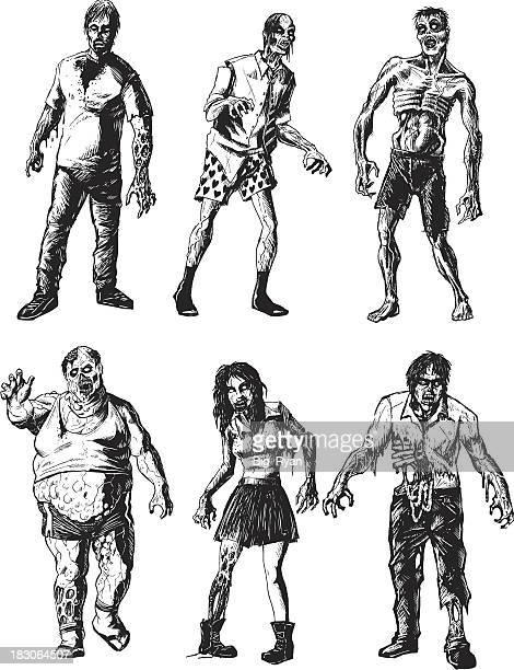 six zombies - zombie stock illustrations, clip art, cartoons, & icons