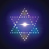 six-pointed Jewish star of David on the brilliant neon background
