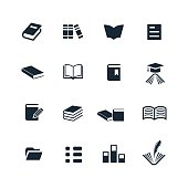 Sixteen black and white book icons