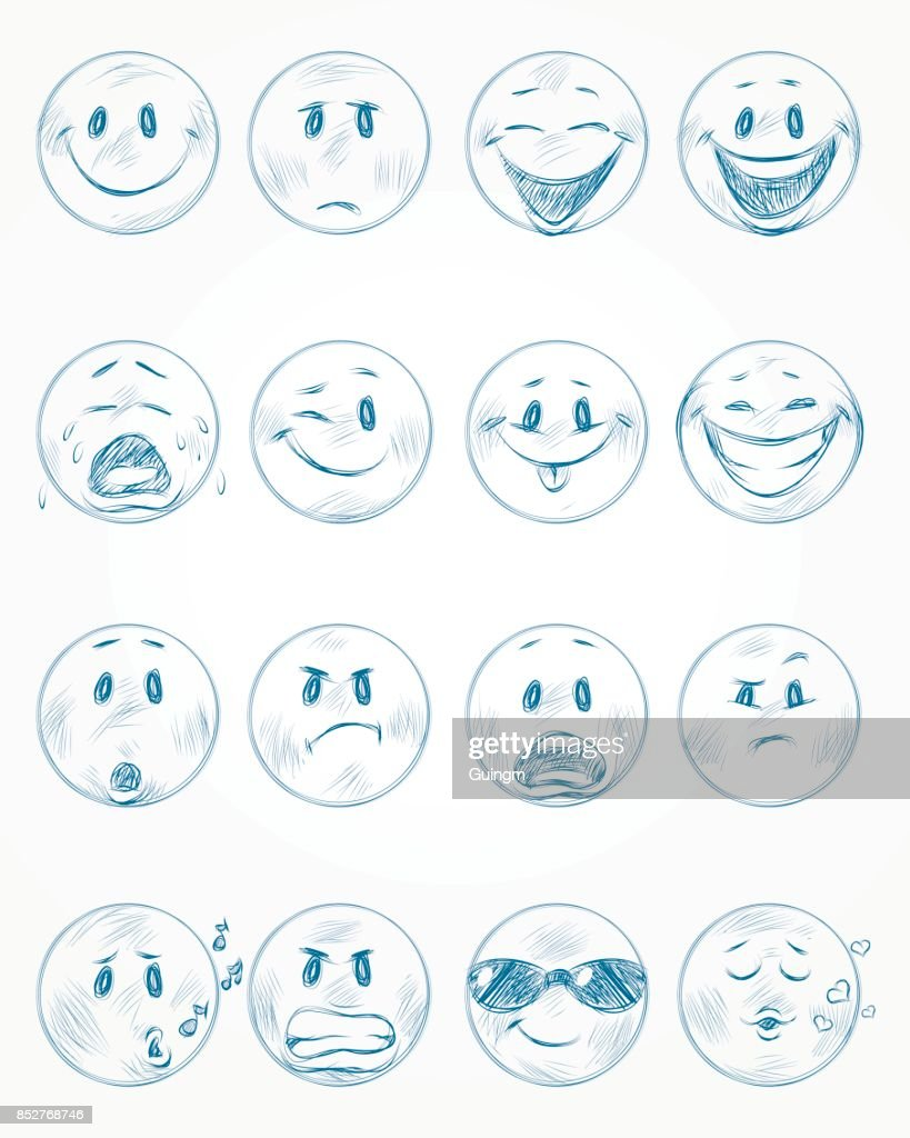 Sixteen blue faces